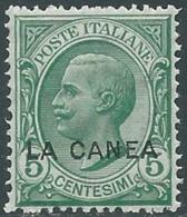1907-12 LEVANTE LA CANEA EFFIGIE 5 CENT MNH ** - RB2-10 - 11. Oficina De Extranjeros