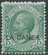 1907-12 LEVANTE LA CANEA EFFIGIE 5 CENT MNH ** - RB2-8 - 11. Oficina De Extranjeros