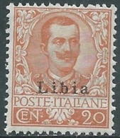 1912-15 LIBIA FLOREALE 20 CENT II TIPO MNH ** - RB3-2 - Libya