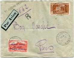 REUNION LETTRE RECOMMANDEE PAR AVION AFFRANCHIE AVEC LE PA 1 DEPART SAINT-JOSEPH 25-1-37 REUNION POUR LA FRANCE - Réunion (1852-1975)