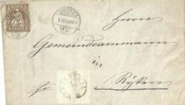 Lokaler Brief  Zofingen - Rothrist - Riken             1868 - 1862-1881 Helvetia Seduta (dentellati)