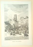 Houtgravure 'Rotterdam'/ Wood Engraving 'Rotterdam (NL)', 1883, Kallmorgen, Erasmusbeeld, Erasmus Statue - Prenten & Gravure