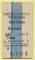 BRD - Pappfahrkarte (Reichsbahn) : Ammelshain - Brandis - Trenes