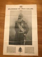 1907 - Calendrier Du Pays Wallon  (Léopold II) - Calendari
