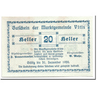 Billet, Autriche, Vitis, 20 Heller, Graphique, 1920, SPL, Mehl:1115 - Autriche