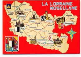 La Lorraine Mosellane. Carte Geographique, Contour De Departement Edit Europ. Boulay Forbach Metz Chateau Salins Lorquin - Autres Communes