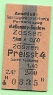 BRD - Pappfahrkarte  (Reichsbahn) - -> Mellensee Saalow -- Zossen (Anschluß Sonntagsrück) - Bahn