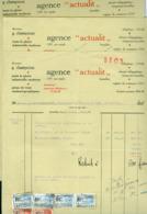 """Facture Timbrée Et Courriers Commerciaux Agence """"actualit"""" Bruxelles Photo Industrielle 1931 - Printing & Stationeries"""