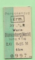 BRD - Pappfahrkarte  (Reichsbahn) - -> Warin -- Blankenberg - Railway