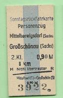 BRD - Pappfahrkarte  (Reichsbahn) - -> Mittelherwigsdorf - Großschönau - Trenes