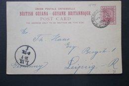 British Guiana: 1895 Postal Card To Germany (#CT3) - British Guiana (...-1966)
