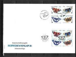 Sweden + Singapur 1999 Butterflies Joint Issue FDC - Gemeinschaftsausgaben