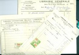 3 Factures Acquittées Et Timbrées Librairies Joncker, Lamertin Et LIbrairie Générale Bruxelles 1930-31 - Imprenta & Papelería