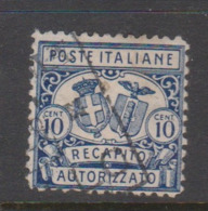 Italy AD 2 1928 Authorized Delivery Stamps, 10c Blue Perf 14.used - 1900-44 Vittorio Emanuele III