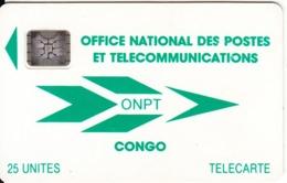 CONGO REPUBLIC - ONPT Logo(green), First Issue 25 Unites, Chip SC4, CN : 40496, 06/92, Used - Congo