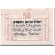 Billet, Autriche, Weilbach, 50 Heller, Graphique, 1920, 1920-05-02, SPL - Autriche
