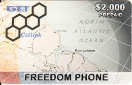 GUYANA - Map, Freedom Phone, GT&T Prepaid Card $2000, Used - Guyane