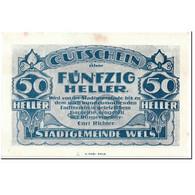 Billet, Autriche, Wels, 50 Heller, Centre Ville, SPL, Mehl:1167 II - Autriche