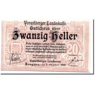 Billet, Autriche, Vorarlberger, 20 Heller, Ecusson, 1919, 1919-10-01, SPL - Autriche