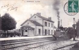 52 - Haute Marne - EURVILLE - La Gare - Locomotive Vapeur - Autres Communes