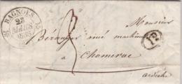 LAC De Bagnols-sur-Cèze (30) Pour Chomérac (07) - 23 Mars 1838 - CAD Rond Type 12 & 13 Privas (07) - TM 3 + Cachet 1D - 1801-1848: Precursori XIX