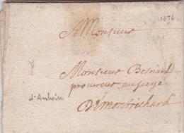 LAC De Amboise (37) Pour Montrichard (41) - 24 Décembre 1676 - Sans Marque Postale - ....-1700: Precursores
