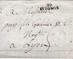LAC De L'Isle-sur-la-Sorgue (84) Pour Lyon (69) - 10 Février 1812 - Marque Linéaire 89 AVIGNON + Taxe Manuelle 5 - Marcophilie (Lettres)