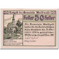 Billet, Autriche, Waldzell, 50 Heller, Eglise 1, 1920, SPL, Mehl:1135 - Autriche