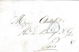 PSC De Paris (75) Pour Paris - 13 Février 18?1 - Cachet Port Dû Bleu + Levée + Timbre à Date - 1801-1848: Precursori XIX
