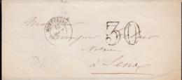 PSC De Montereau (45 Ou 77) Pour Sens (89) - 18 Août 1854 ? - CAD Rond Type 15 + Ambulant - Taxe Double Trait 30 - 1801-1848: Precursors XIX