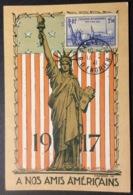 CM56 Carte Maximum 458 Exposition Internationale New York. À Nos Amis Américains. - 1940-49