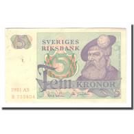 Billet, Suède, 5 Kronor, 1981, 1981, KM:51d, TB - Suède