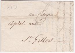 LAC De Nîmes (30) Pour Saint-Gilles (du Gard - 30) - 14 Mai 1793 - Sans Marque Postale - Poststempel (Briefe)