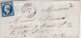 LAC De L'Isle-sur-Serein (89) Pour Semur (21) - 10 Juin 1857 - Timbre YT14 + Ob. Los. PC 1554 - CAD Type 15 + Ambulant - 1849-1876: Periodo Classico
