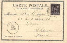 "1898- Postcard "" Souvenir De Constantinople  "" Fr. French Stamp Sage 10 C - 1858-1921 Empire Ottoman"