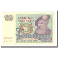 Billet, Suède, 5 Kronor, 1970, 1970, KM:51d, TTB - Suède