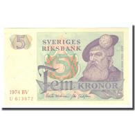 Billet, Suède, 5 Kronor, 1974, 1974, KM:51d, TTB - Suède