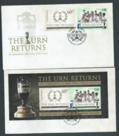 Australia 2014 Cricket Ashes Victory Set 2 & Miniature Sheet On 2 FDC Official Unaddressed - 2010-... Elizabeth II
