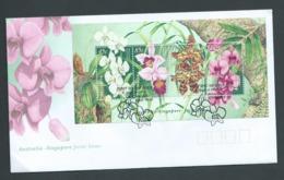 Australia Singapore 1998 Flower Joint Issue Miniature Sheet On FDC Official Unaddressed - 1990-99 Elizabeth II