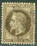 France  30 B   Ob  B Ou B/TB  Brun Noir - 1863-1870 Napoléon III Lauré