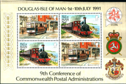 7052b) Isle Of Man 1991 MNH** SS, 9th Con. Of Commonwealth 1991 Train Railways (R9n) - Isola Di Man