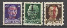 Italie  République Sociale  N° 21 ; 22 Et 23  Neufs   **  TB   =  MNH  VF  Soldé   à Moins  De 20  %  ! ! ! - 4. 1944-45 Repubblica Sociale
