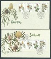 Australia 2018 Banksia Flower Set Of 4 & Miniature Sheet On 2 FDC Official Unaddressed - 2010-... Elizabeth II