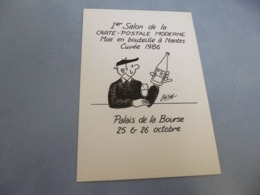 BELLE ILLUSTRATION ..ELIBY....1ER SALON DE LA CARTE POSTALE MODERNE AU PAYS DU MUSCADET ..NANTES 1986 - Bourses & Salons De Collections