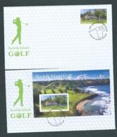 Norfolk Island 2018 $5 Golf Single & Miniature Sheet On 2 FDC Official Unaddressed - Norfolk Island