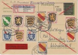 1946- Occupation Française En Allemagne  Postkarte RECC. EXPRES  De Walldkirch ( Btreisgau ) Affr. T P Zone Française - France