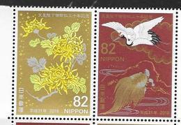 JAPAN, 2019, MNH, 30th ANNIVERSARY OF EMPEROR ENTHRONEMEN, BIRDS, TURTLES, FLOWERS, 2v - Oiseaux