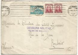 GUERRA CIVIL CC A FRANCIA 1937 CON CENSURA MILITAR VIÑETA PRO PARO Y LLEGADA - 1931-50 Briefe U. Dokumente