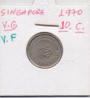 SINGAPORE COIN  10 CENTS-1970-USED AS SCAN(Kbx2) - Singapore