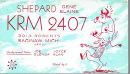 Saginaw Michigan Very Old QSL From Gene & Elaine Shepard 3013 Roberts (1967) - CB